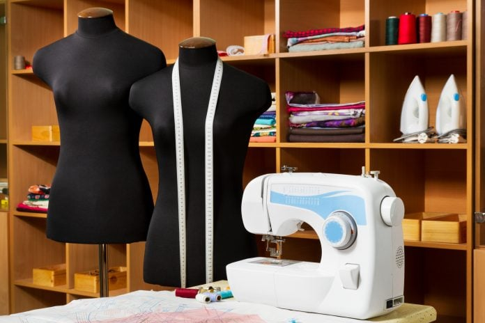 sewing room furniture with accessories in the background