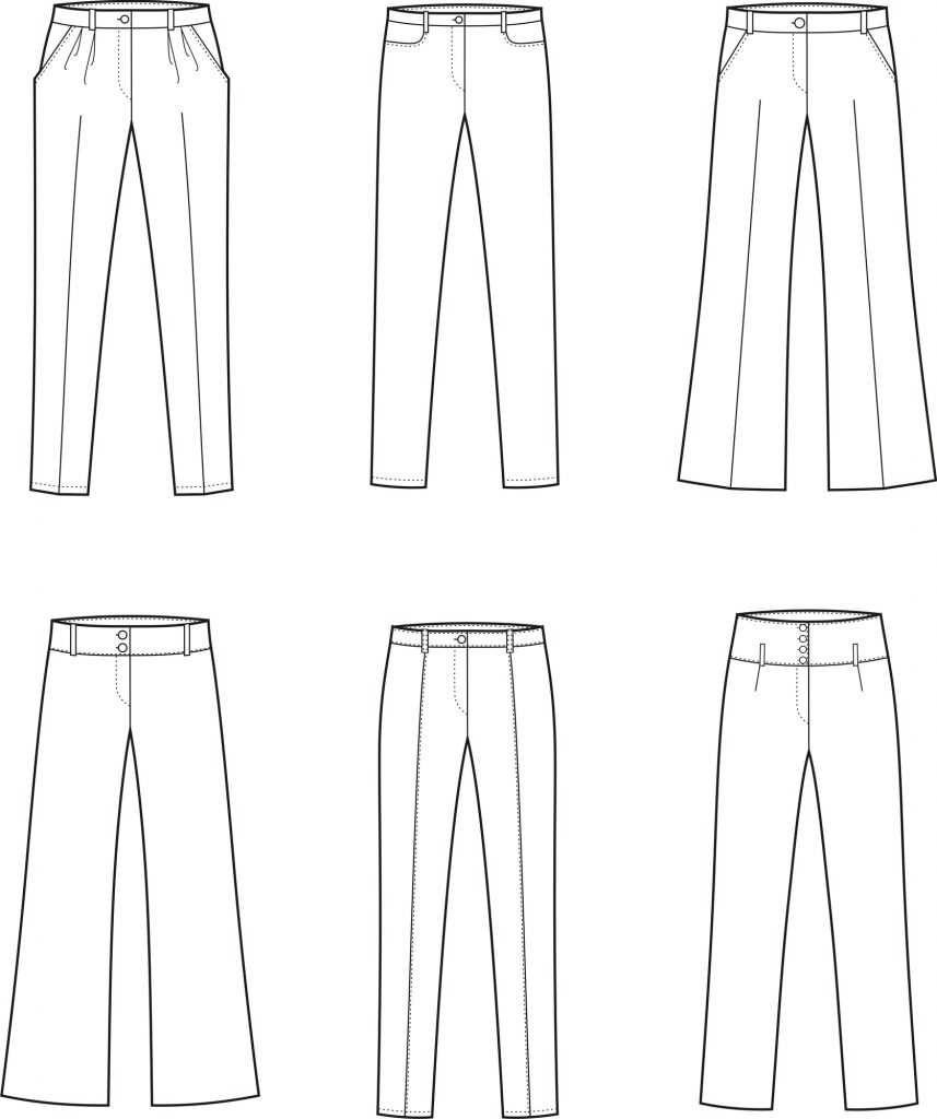 various types of sew pants graphic