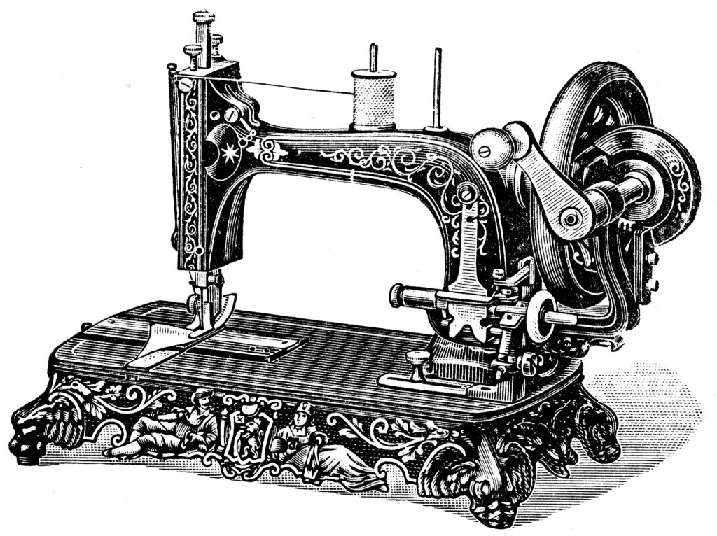 very old sewing machine illustration