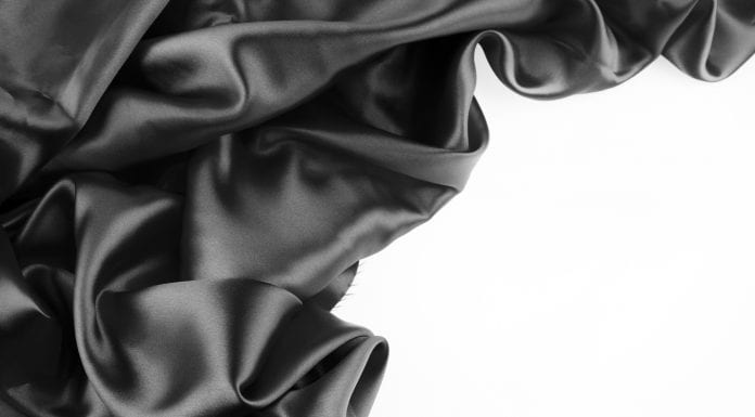 Black silk on a white background