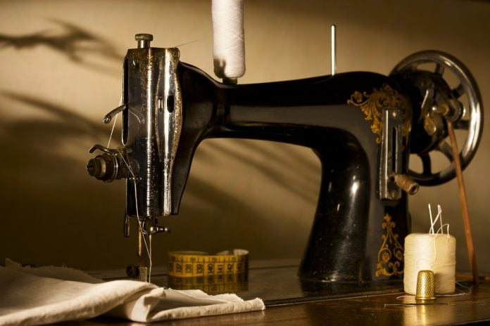 old sewing machine seen from close up