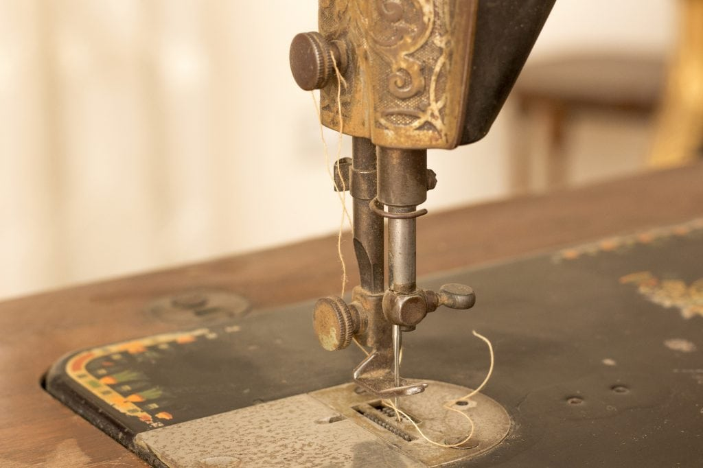 vintage sewing machine seen from close up